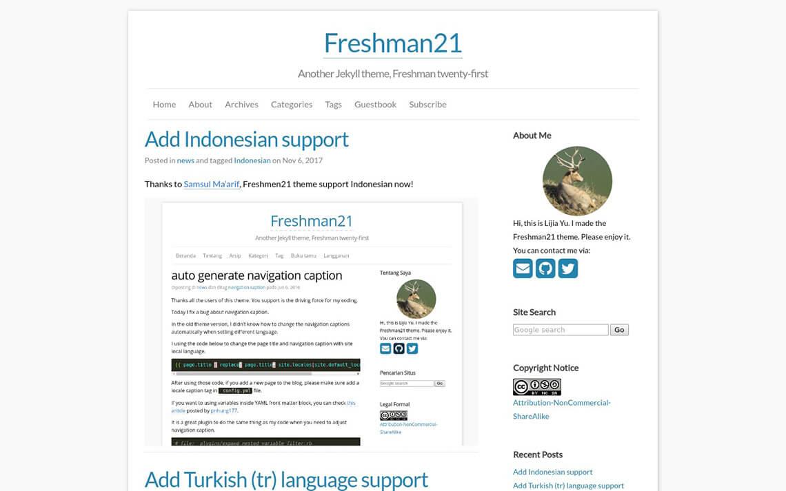 Freshman21 Jekyll Theme