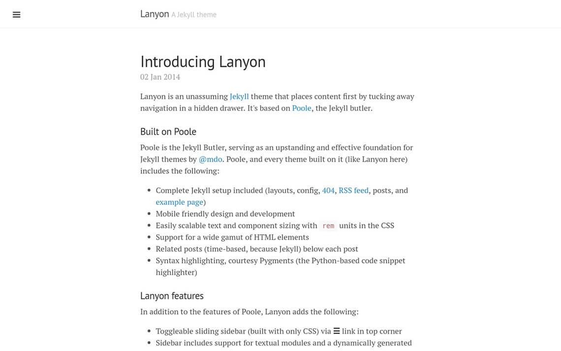 Lanyon Jekyll Theme