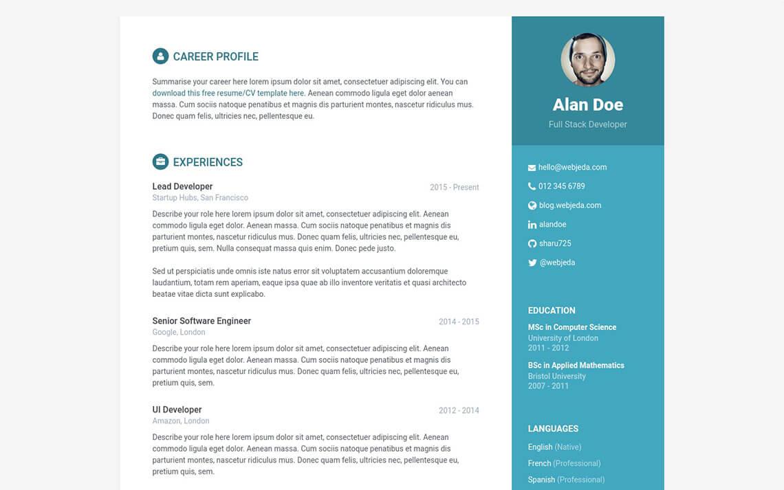 Online CV Jekyll Theme
