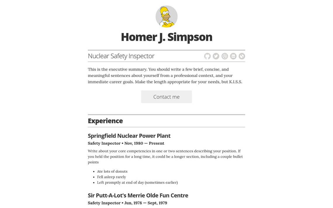 resume template  u2013 github pages powered resume  u2013 jekyll themes