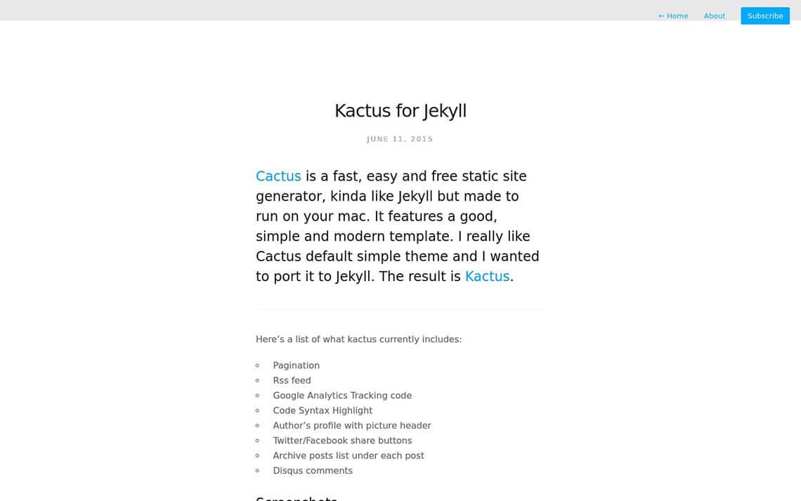 Kactus Jekyll Theme