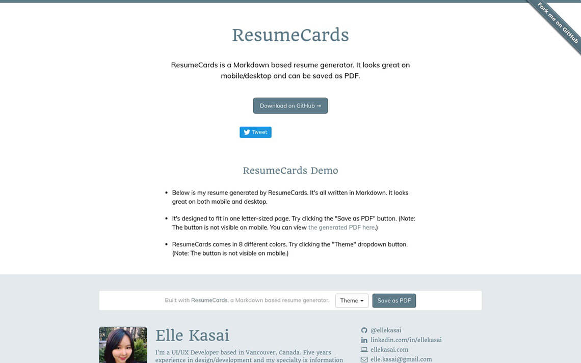 Resumecards Jekyll Theme