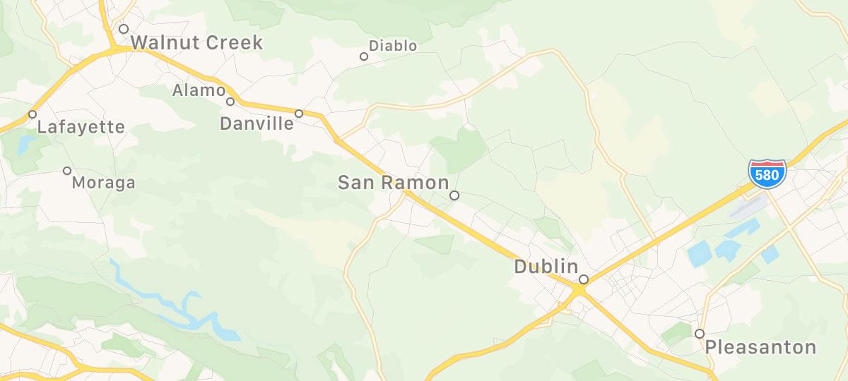 Map of San Ramon, Danville, Alamo, Dublin, Pleasanton, and Walnut Creek area.