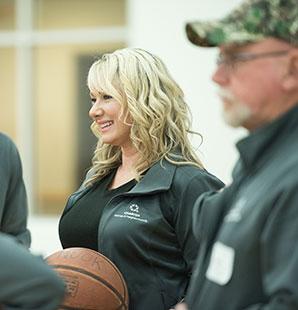 Charter employees playing basketball