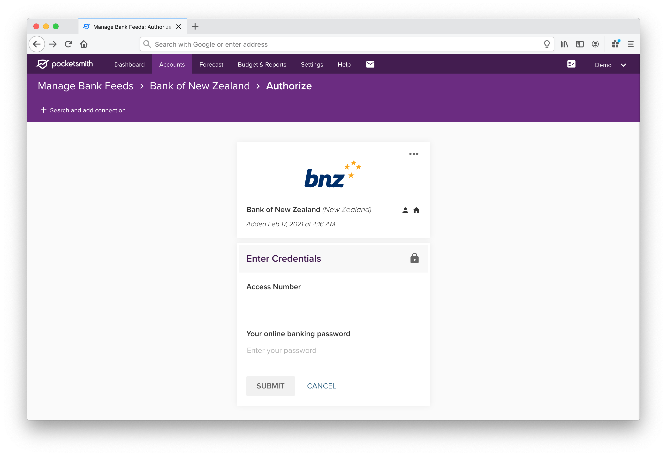 Connection authorize page