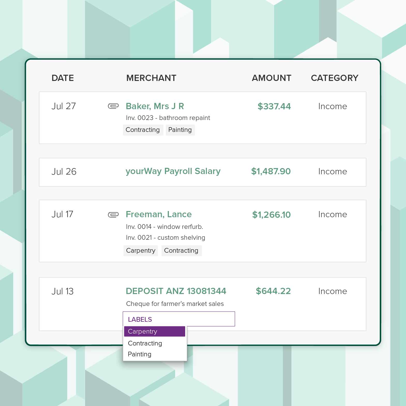 List of transactions in PocketSmith tracking multiple income streams