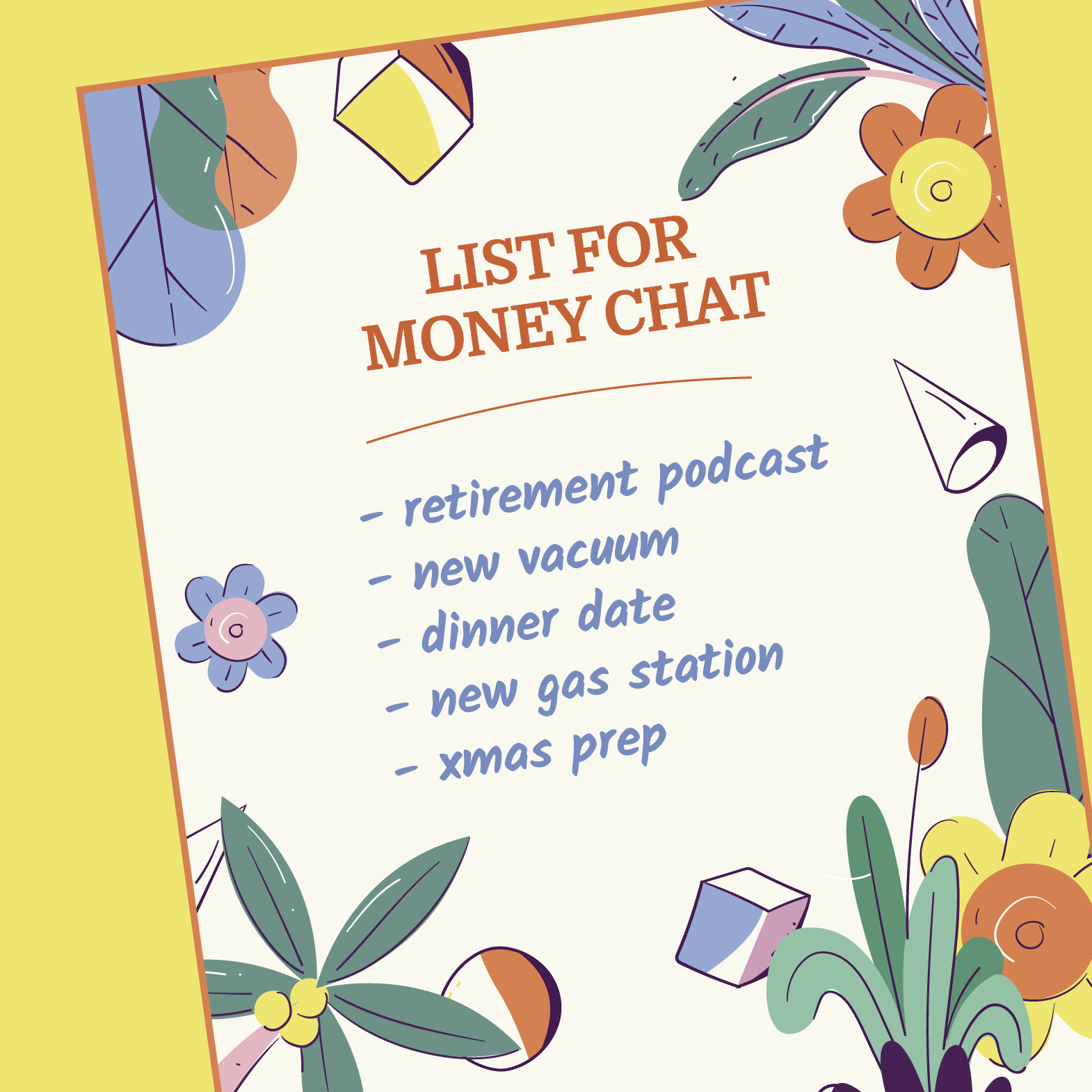 A list of potential topics for a chat about money