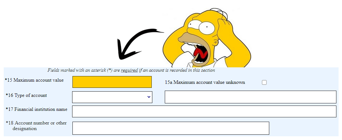 A screenshot of the FBAR filing form with maximum account value highlighted