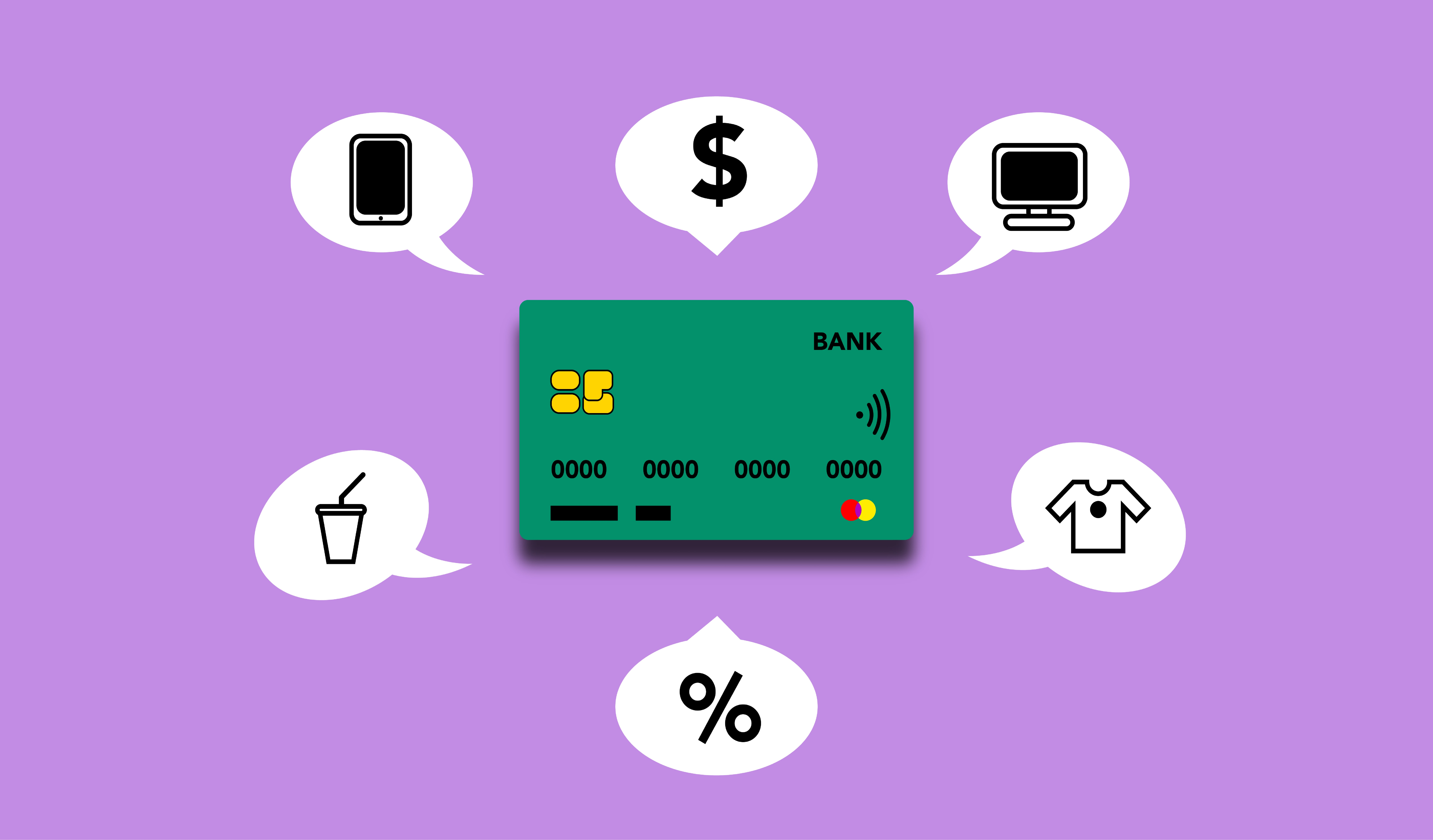 A credit card surrounded by spending habits - phones, clothes, eating out, etc