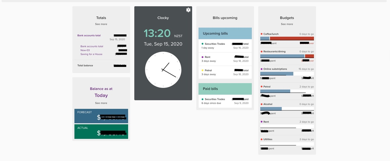 Seb's Dashboard, which has custom widgets he's added to show upcoming bills, budgets, balances and the date and time!