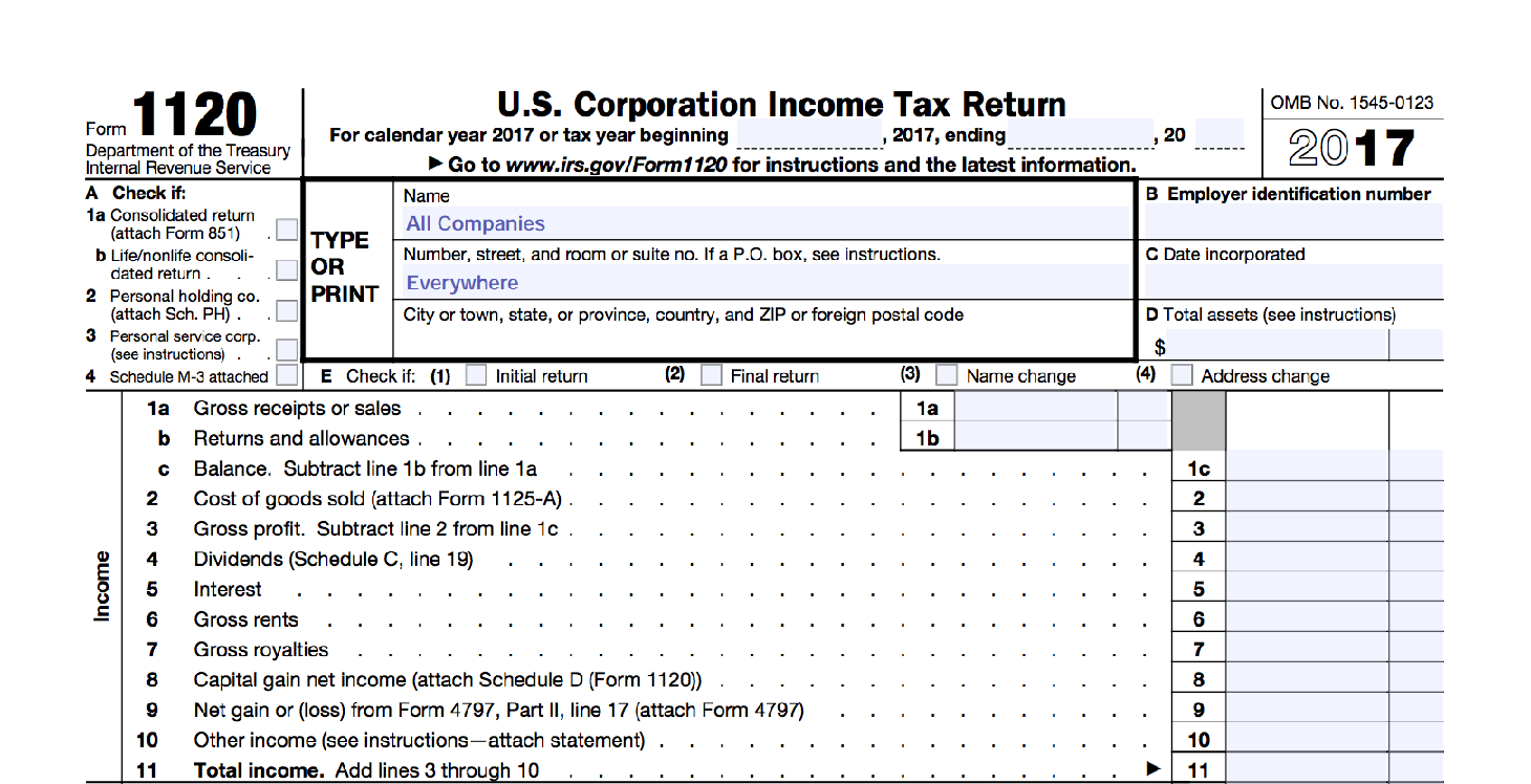 Form 1120 Example