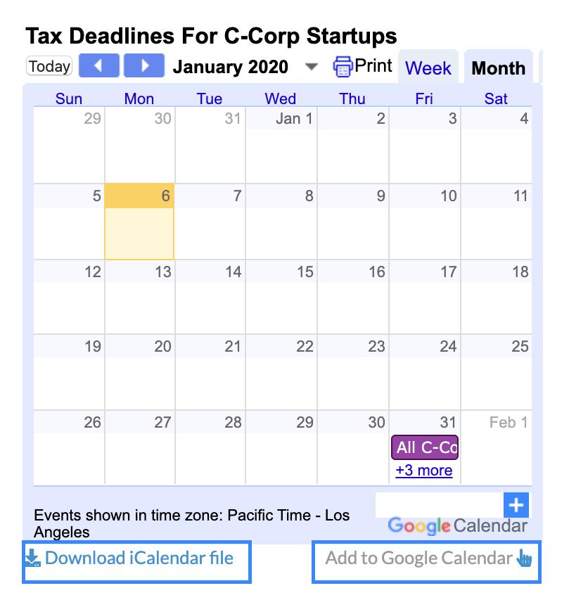 2020 Tax Calendars
