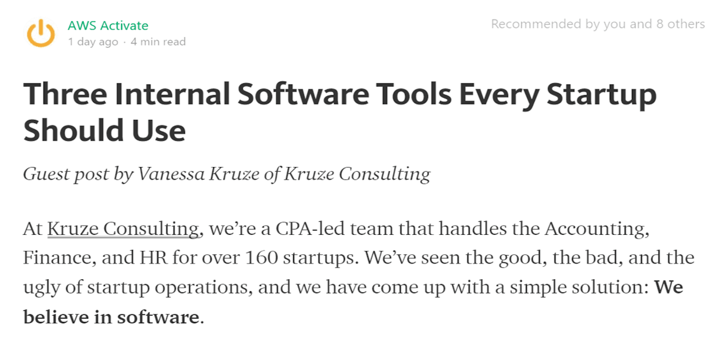 Amazon Web Services & Kruze Consulting Discuss Three Accounting, Finance & HR Software Tools for Startups