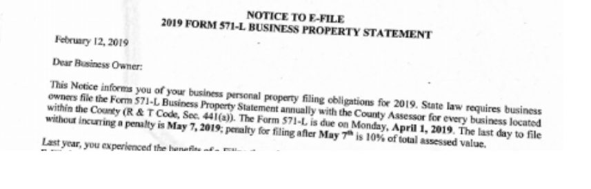 571-L SF Property Tax Statements for California Startups
