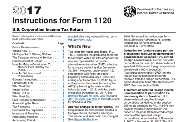 Form 1120 Instructions