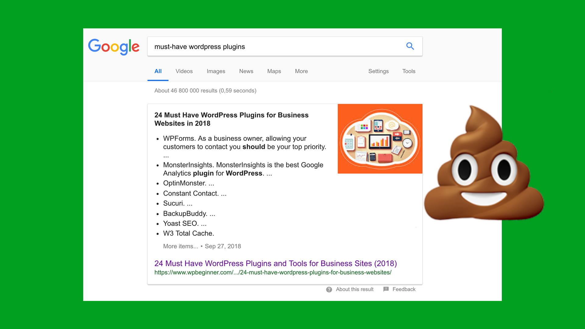 """The top result when searching for """"must-have wordpress plugins"""" lists over 20 plugins as """"must-have""""—that's ridiculous!"""