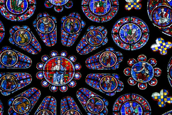 Stained glass windows in the Gothic Chartres Cathedral, France.