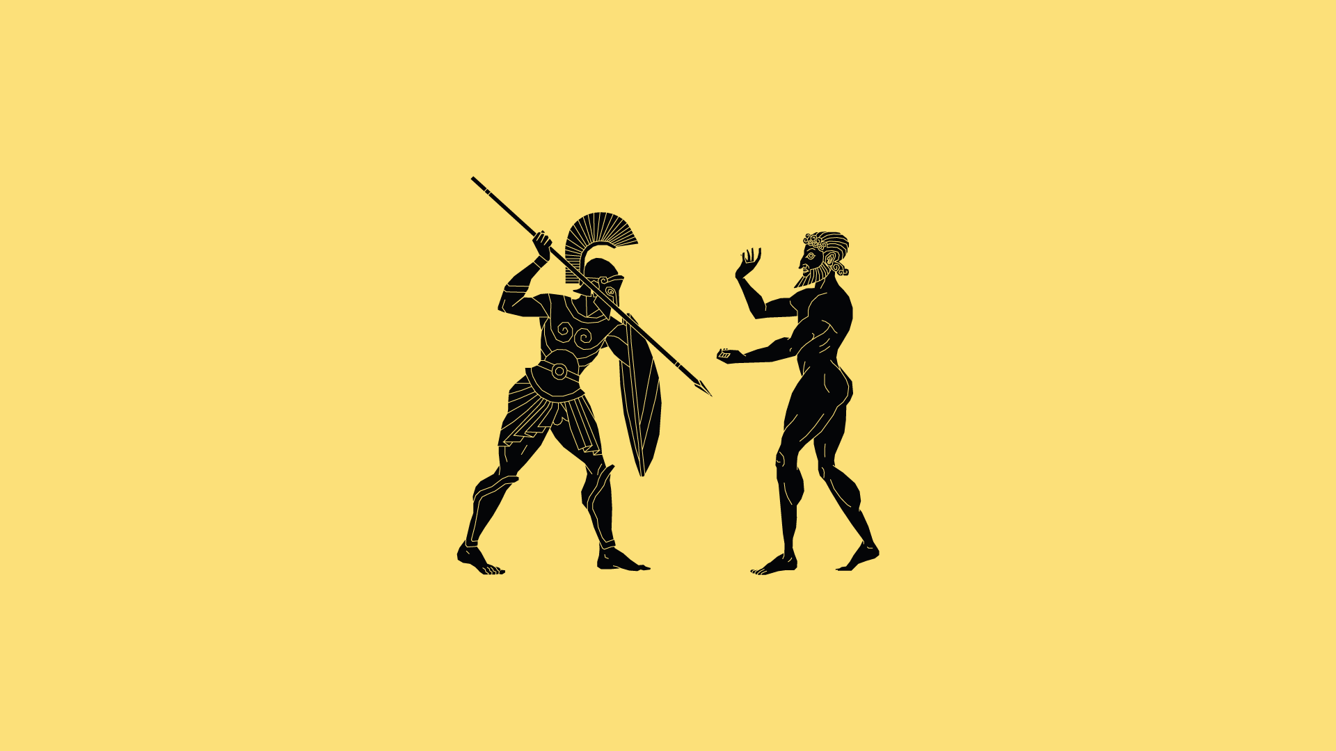 Vectorised illustration in the style of ancient Greek red-figure pottery
