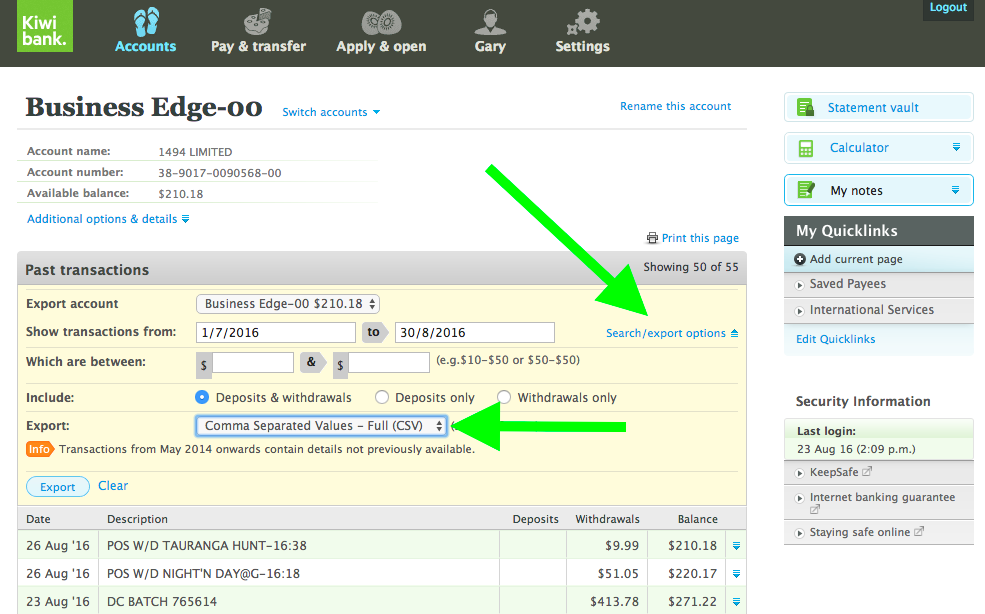 Kiwibank export select screenshot