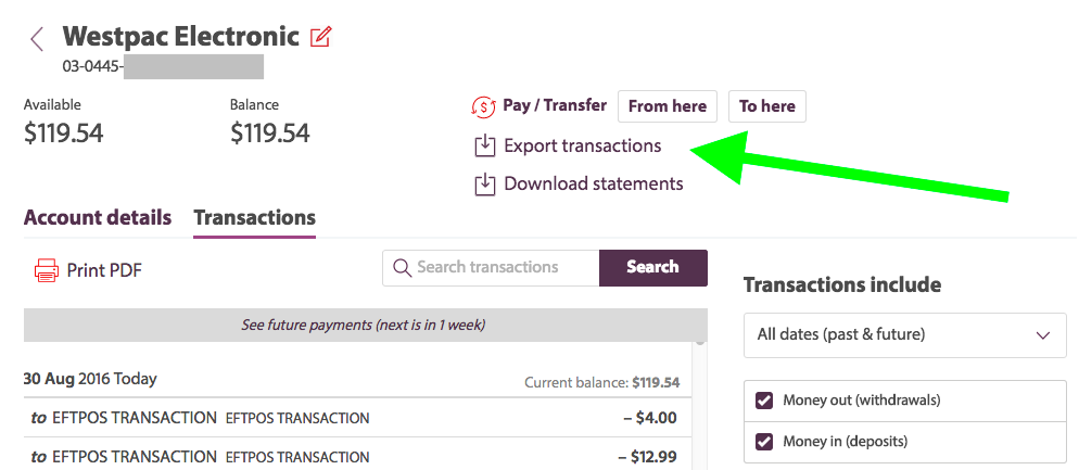 Westpac Personal Online Banking export transactions screenshot
