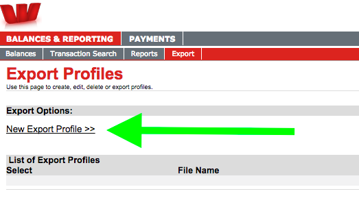 Westpac Business Online Banking create export profile screenshot
