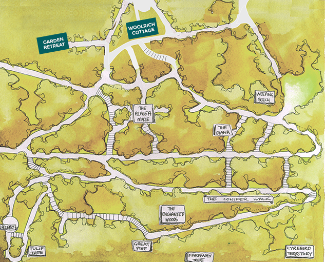 Woolrich Retreat - Map of grounds and gardens.