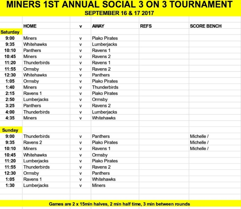 Waihi 3 On 3 Social Tournament Draw: 16-17 September 2017