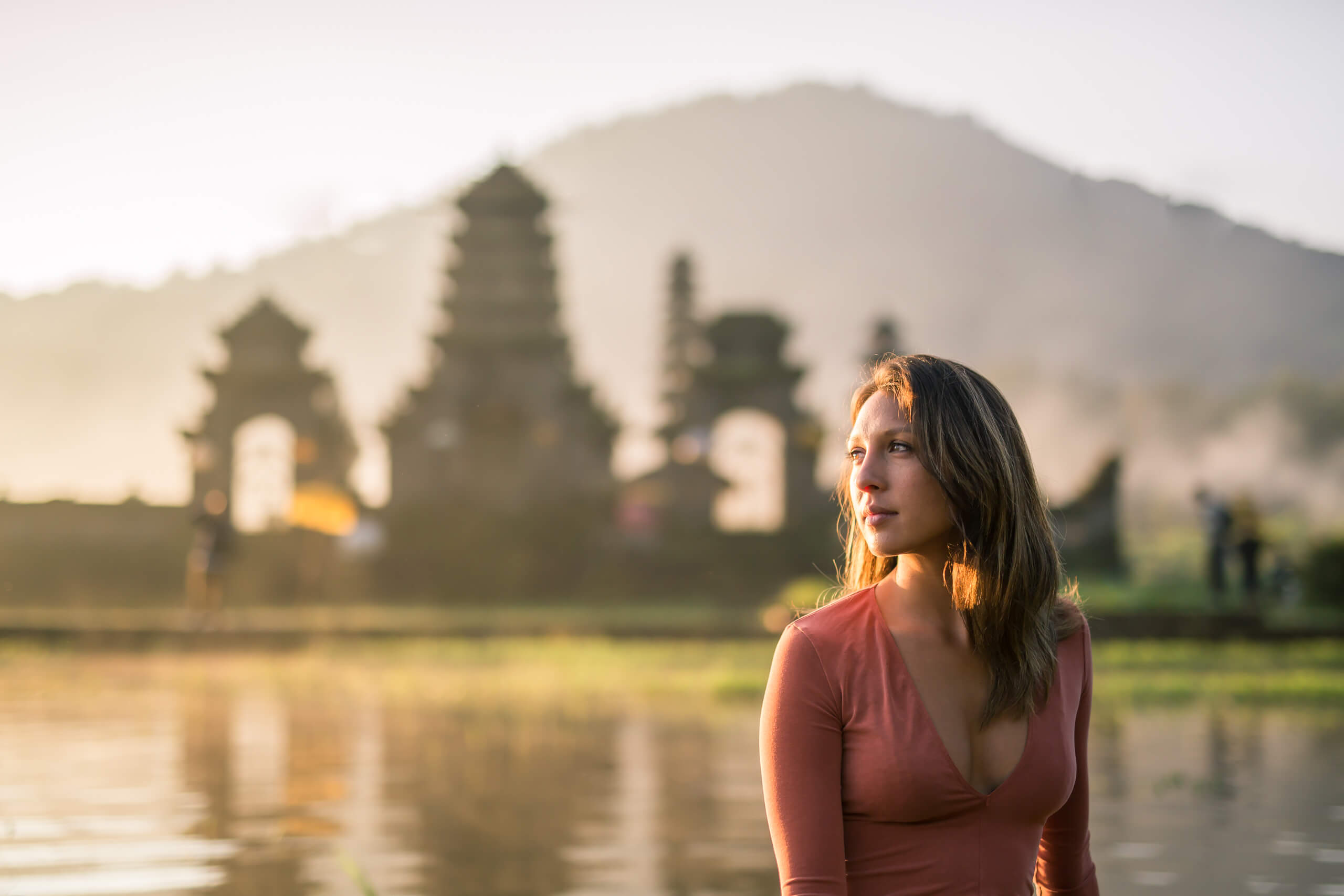 TAMBLINGAN LAKE TEMPLE | With the temple and towering mountain as a backdrop, the sunrise was stunning over the lake.