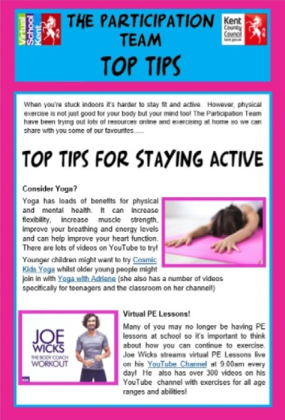 Ten Top Tips for Staying Active