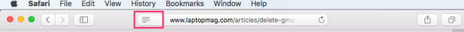 image of reader view icon in the browser bar