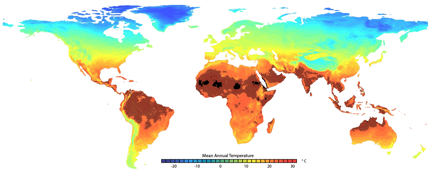 Global map of temperatures by 2070.