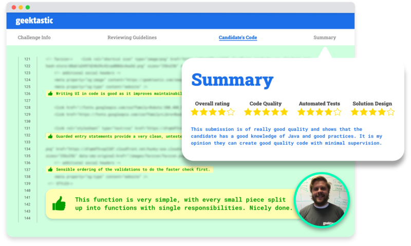 Detailed reviewer comments. Clear and easy to understand candidate ratings.