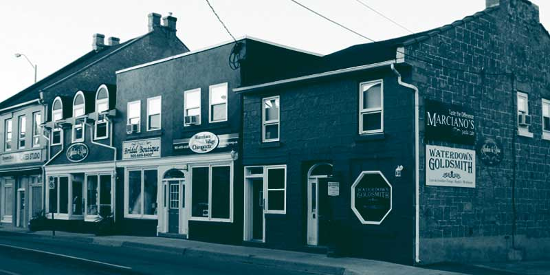 Photo of historic Mill & Dundas streets in Waterdown