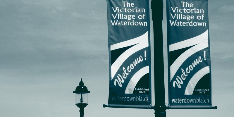Photo of decorative banners in historic Waterdown