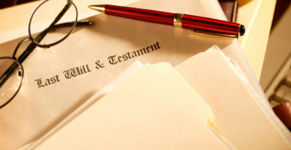 photo of last will and testament documents