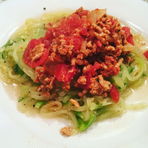 Image of whole30 meat sauce with zoodles