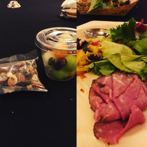 Image of whole30 bag of nuts and raisins and salad from buffet