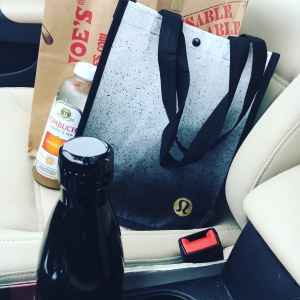Image of trader joe's shopping bag and lululemon