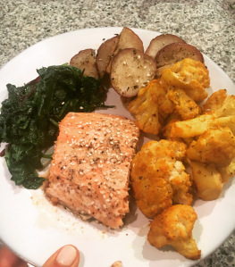 Image of spinach salmon and cauliflower