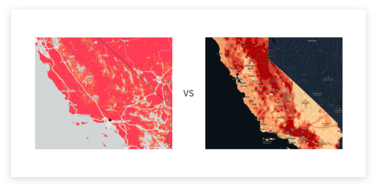 Comparison of Modeling: Current industry view wildfire risk as hyper conservative, while Kettle is hyper detailed in the true nature of risk.