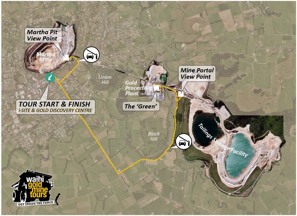 Waihi Gold Mine Tours - Route