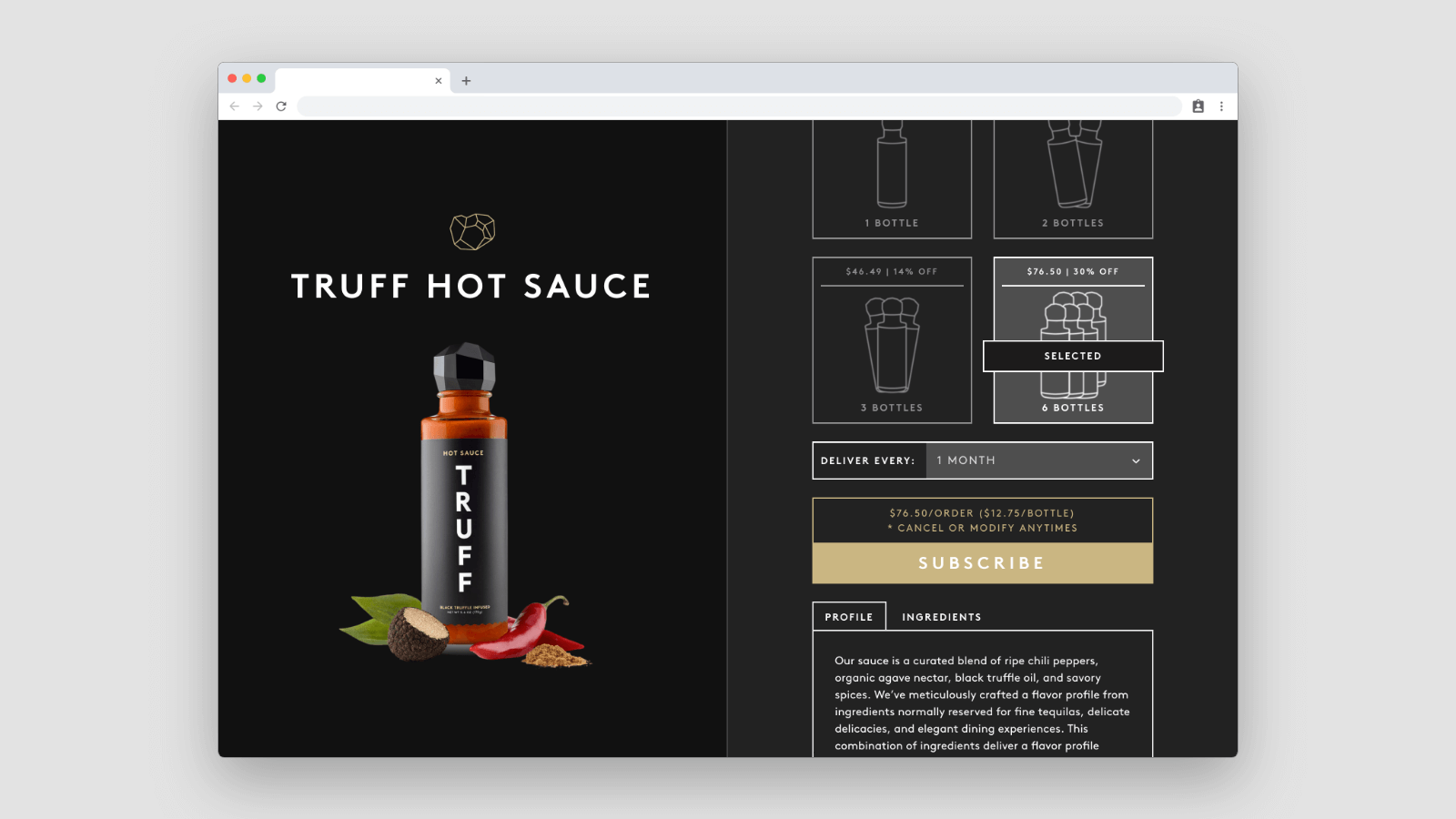 Subscription page for Truff Hot Sauce