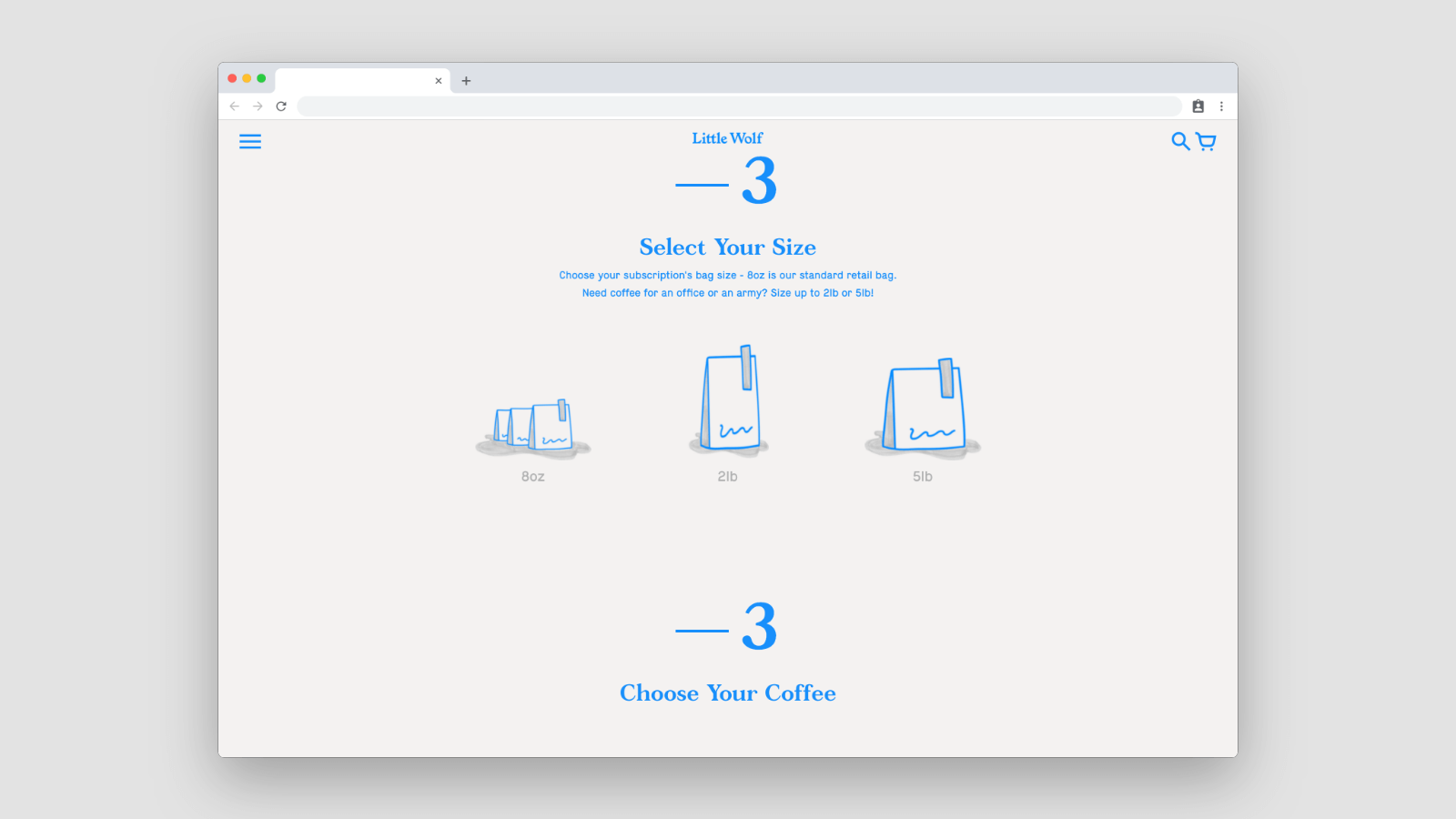 Subscription page for Nomadic Coffee