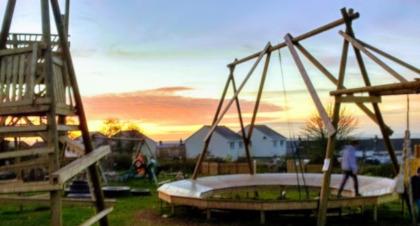 Children playing at Gwealan Tops Adventure Playground