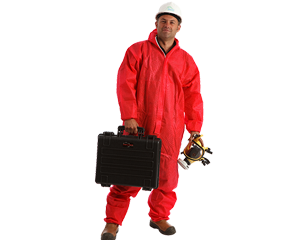 Asbestos removal contractor in coveralls