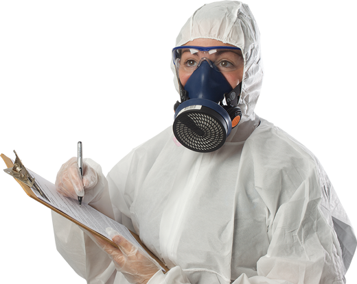 Asbestos analyst in PPE