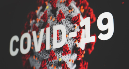 Virus image and covid 19 slogan