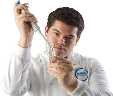 Image of analyst checking a Legionella sample