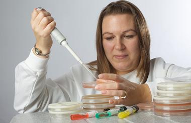 Image of legionella consultant with samples