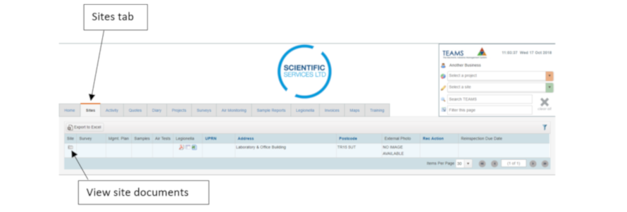 Screenshot of Scientific Services customer portal